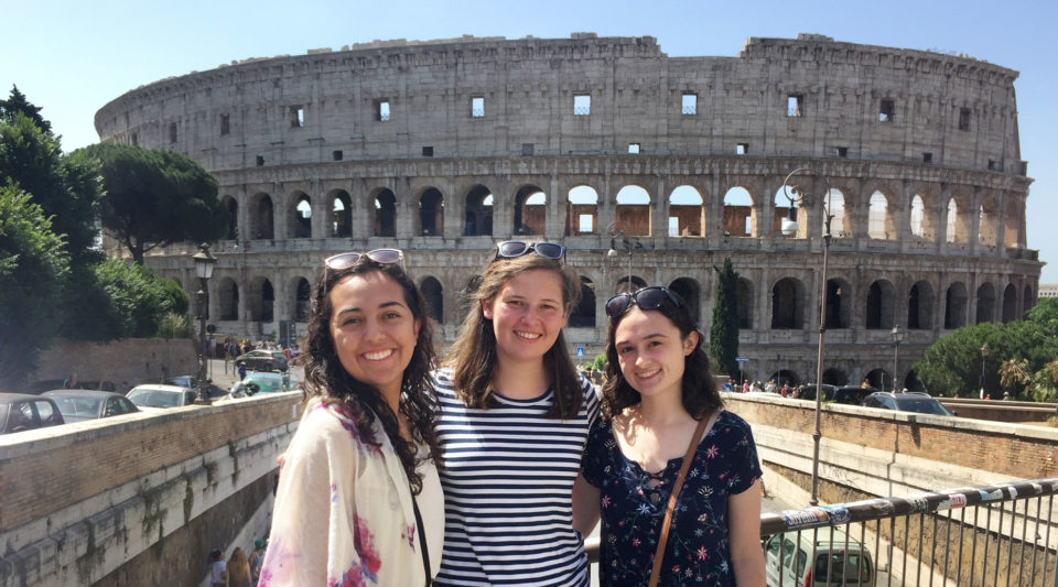 Rome Summer Engineering students in front of the Coliseum
