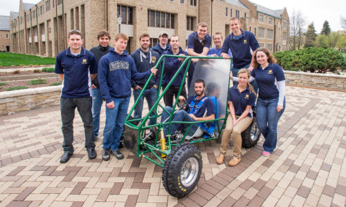 Notre Dame Baja Team with cart
