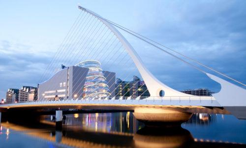 Samuel Beckett Bridge in Dublin after sunset
