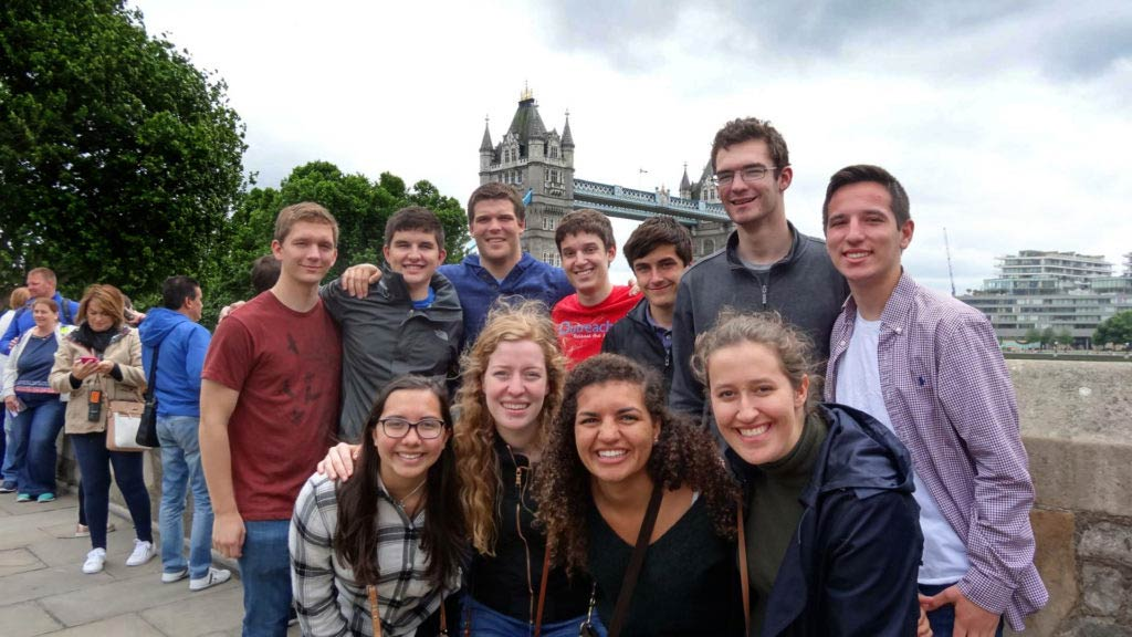 Notre Dame Engineering students in front of the Tower of London